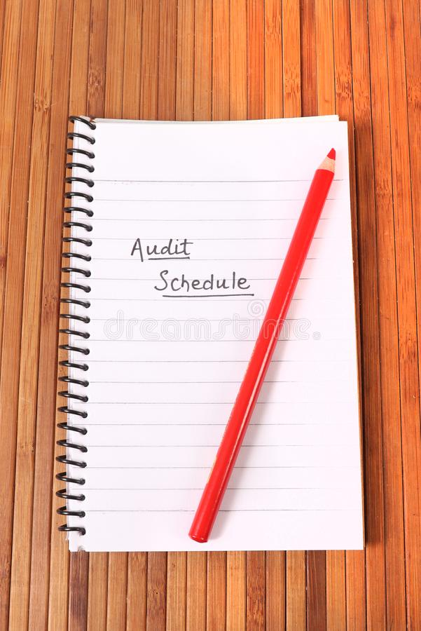 Audit schedule. Beautiful shot of audit schedule stock photography