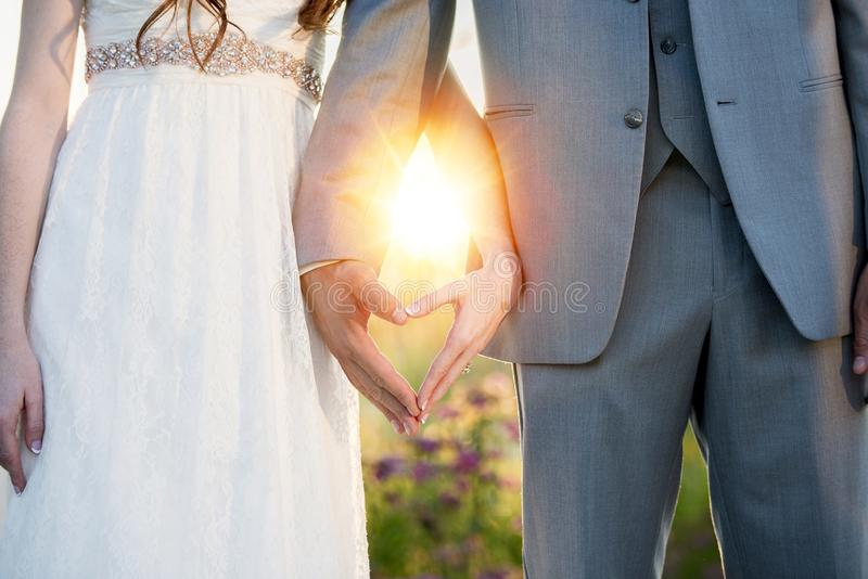 Beautiful shot of bride and groom making a heart shape with their hands royalty free illustration