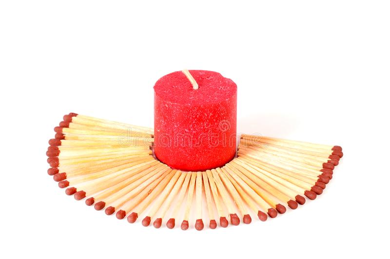 Candle and matchsticks royalty free stock image