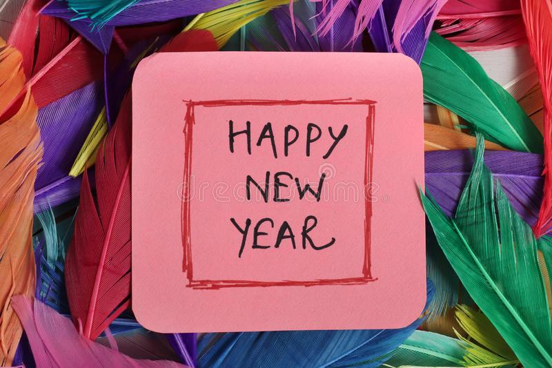 Happy new year. Beautiful shot of happy new year written on paper cut out stock image