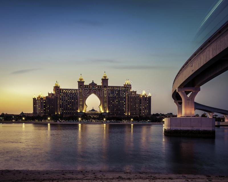 Beautiful shot of a luxury hotel in Atlantis the palm with a beautiful sky in the background. A beautiful shot of a luxury hotel in Atlantis the palm with a royalty free stock photo