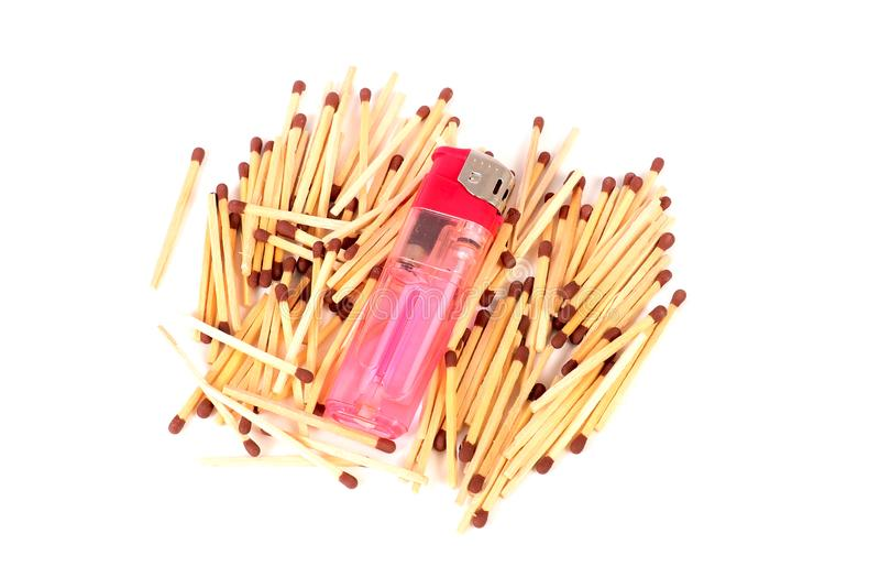 Matchsticks and lighter stock photos