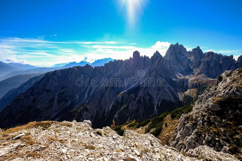 Beautiful shot of Mountain Ranges on a sunny day with blue sky in the background royalty free stock image