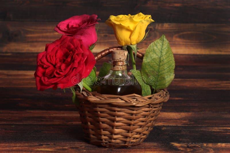 Natural oil bottle stock photo