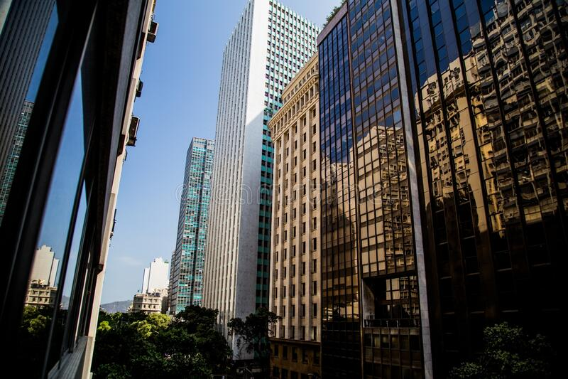 Beautiful shot of tall buildings in downtown at Rio de Janeiro, Brazil. A beautiful shot of tall buildings in downtown at Rio de Janeiro, Brazil royalty free stock images