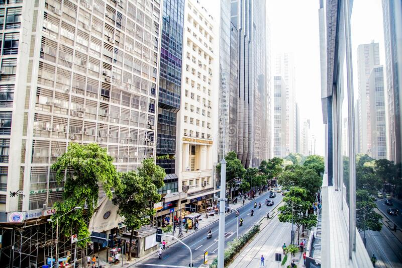 Beautiful shot of tall buildings in downtown at Rio de Janeiro, Brazil. A beautiful shot of tall buildings in downtown at Rio de Janeiro, Brazil stock photos