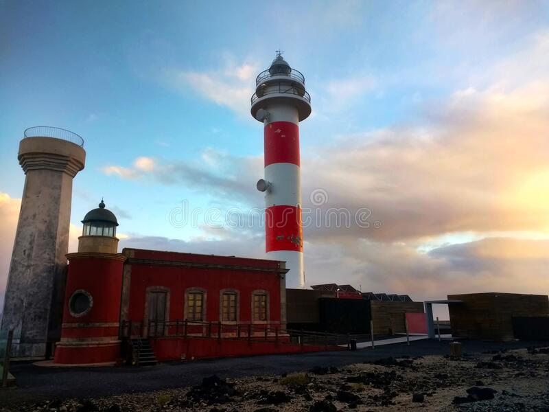 Beautiful shot of Tostón Lighthouse during sunset in Las Palmas, Spain. A beautiful shot of Tostón Lighthouse during sunset in Las Palmas, Spain royalty free stock photos