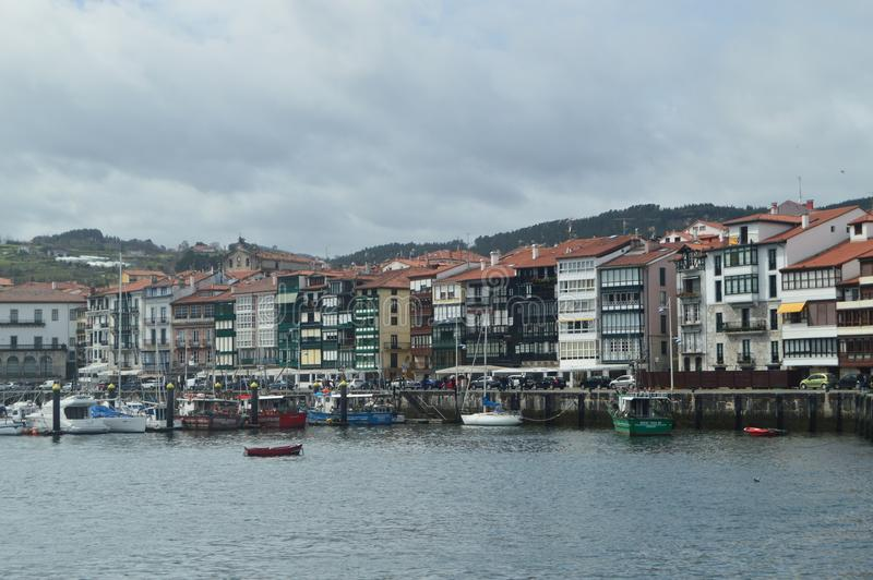 Beautiful Shot Of The Wooden Buildings Of The Port District On The Bay Taken From The Lonja De Lekeitio. March 24, 2018. Architect. Ure Nature Landscapes stock photos