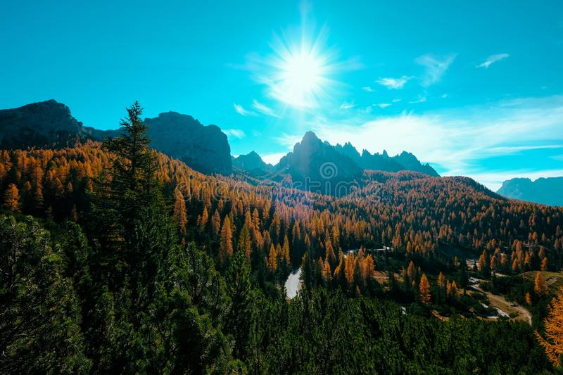 Beautiful shot of yellow and green trees and mountains with the sun shining in the blue sky. A beautiful shot of yellow and green trees and mountains with the royalty free stock images