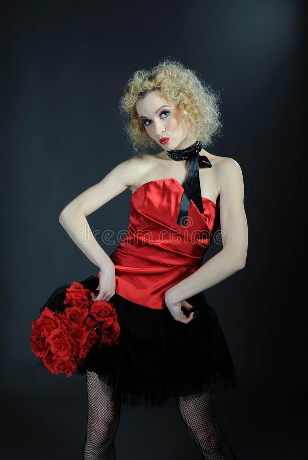 Beautiful show cabaret girl with stage make-up royalty free stock image