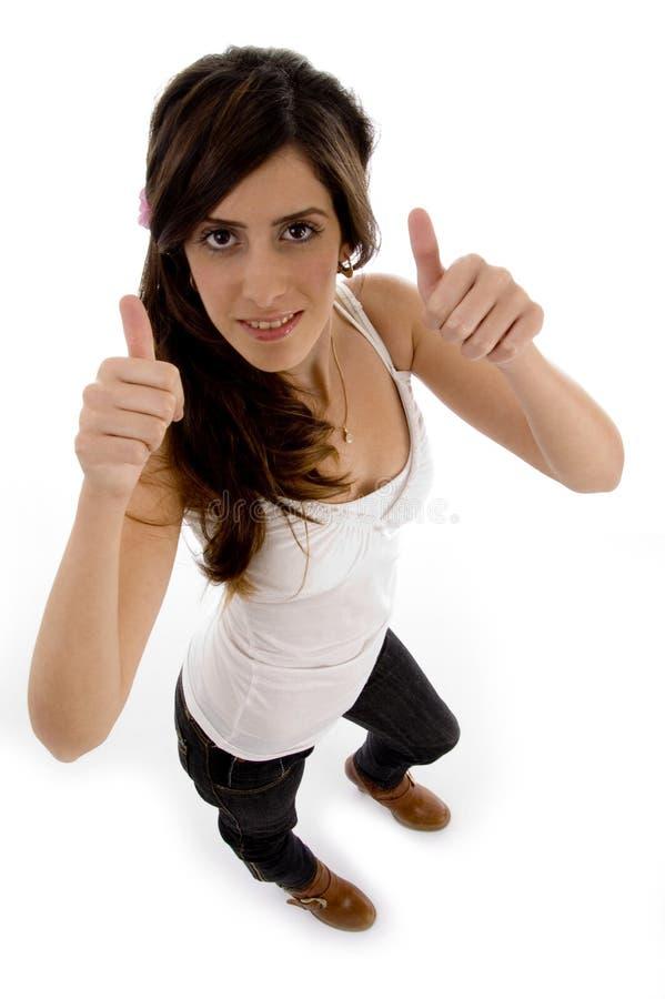 beautiful showing thumbs two up woman στοκ εικόνες με δικαίωμα ελεύθερης χρήσης