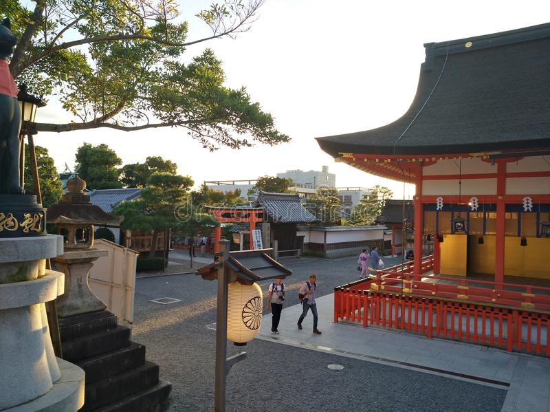 Beautiful shrine with trees in japan royalty free stock photo