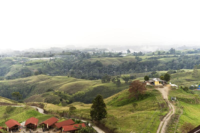 Beautiful Sights of Lookout of Filandia in Quindio, Colombia. Beautiful and Green Sights of Lookout of Filandia in Quindio, Colombia stock image