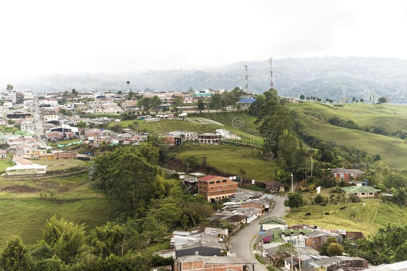 Beautiful Sights of Lookout of Filandia in Quindio, Colombia. Beautiful and Green Sights of Lookout of Filandia in Quindio, Colombia stock photos