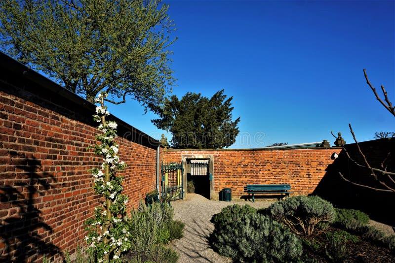 Beautiful and silent herb garden in the Herrenhausen Gardens in Hanover royalty free stock image