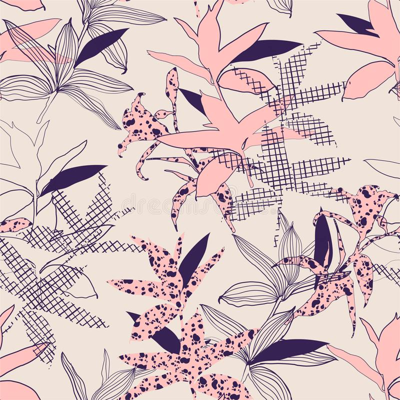 Beautiful of silhouete botanical plants fill in with line hand drawn pattern seamless in vector design for fashion,fabric,web,. Wallpaper and all prints on light stock illustration