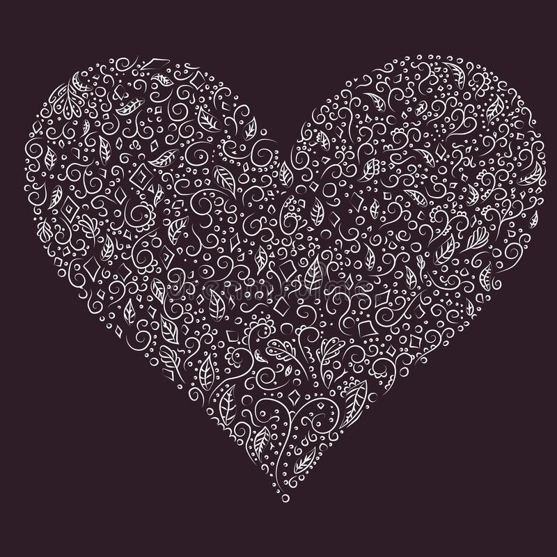 Beautiful silhouette of the heart of lace flowers, leaves, greeting card and invitation of wedding, Valentine`s Day, mother`s da royalty free stock images