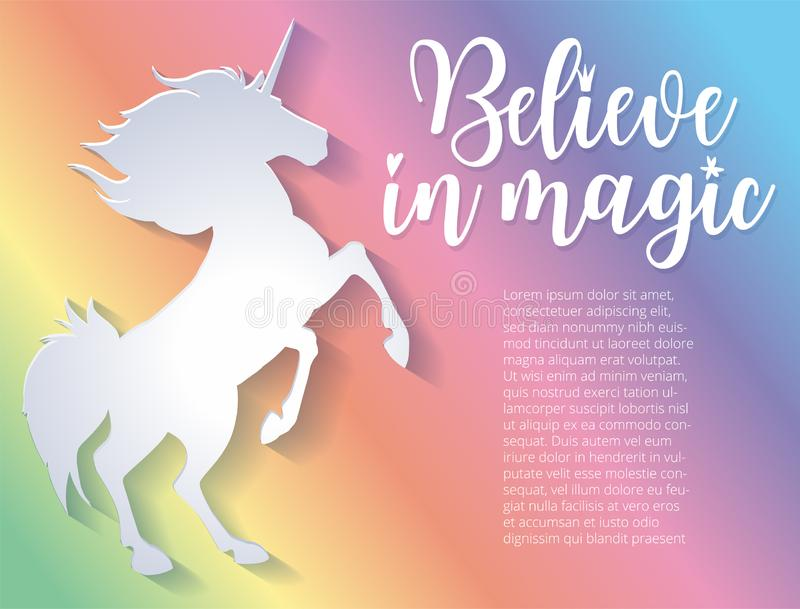 Beautiful silhouette of unicorn in paper cut style. Colorful rainbow background. Typography poster. Believe in magic stock illustration