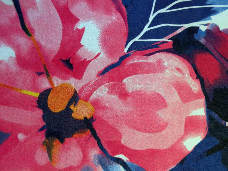 Beautiful silk fabric with pink flower stock images