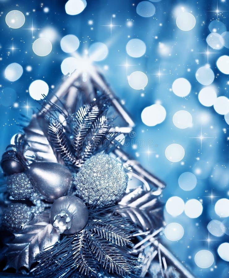 Beautiful silver Christmas tree decoration stock image