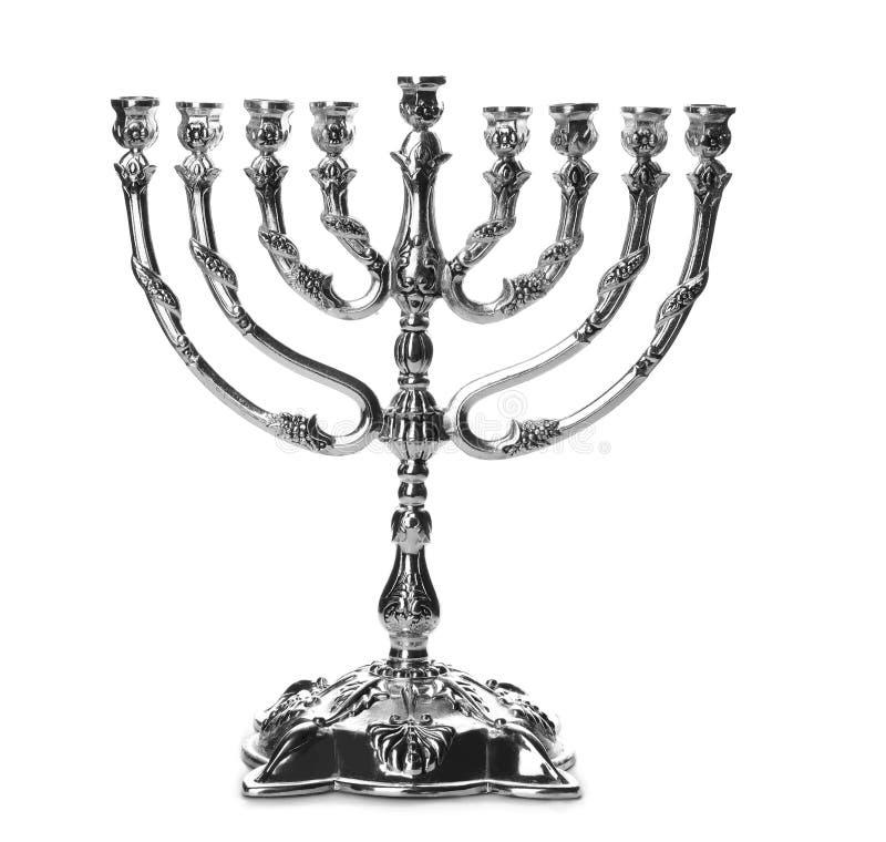 Beautiful silver hanukkah menorah royalty free stock images