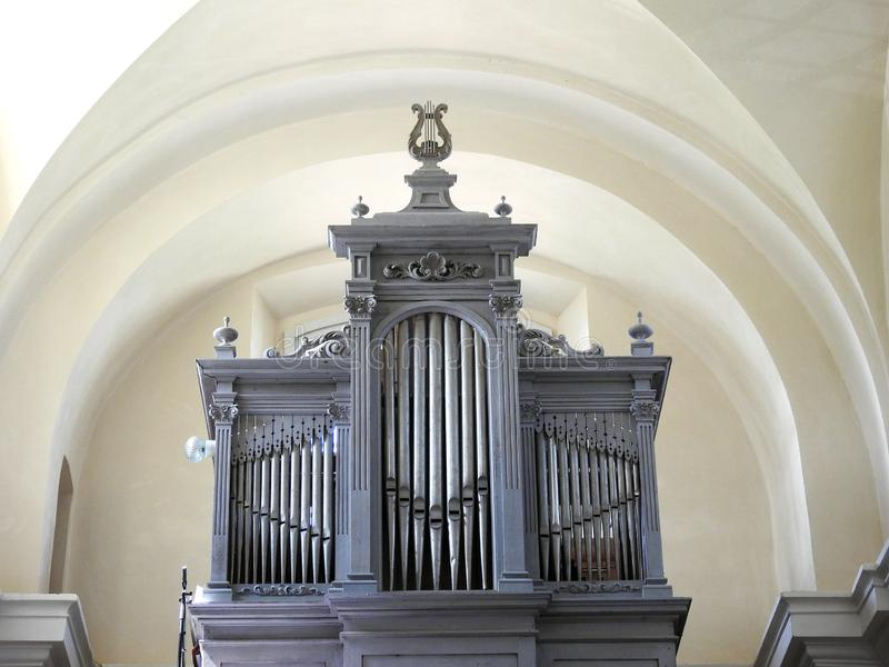 Beautiful silver organ in church. Lithuania royalty free stock photography