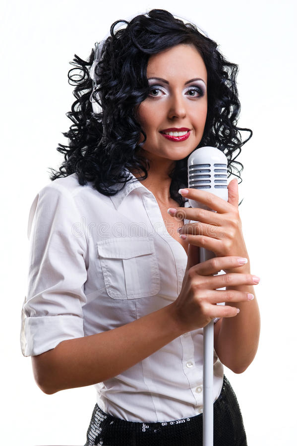Beautiful singer royalty free stock image