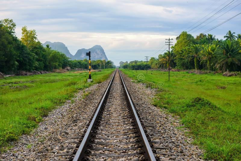 Beautiful single railway view, Thailand royalty free stock image