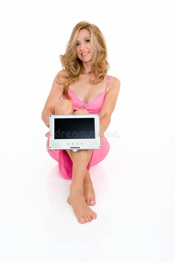 Beautiful sitting woman stock images