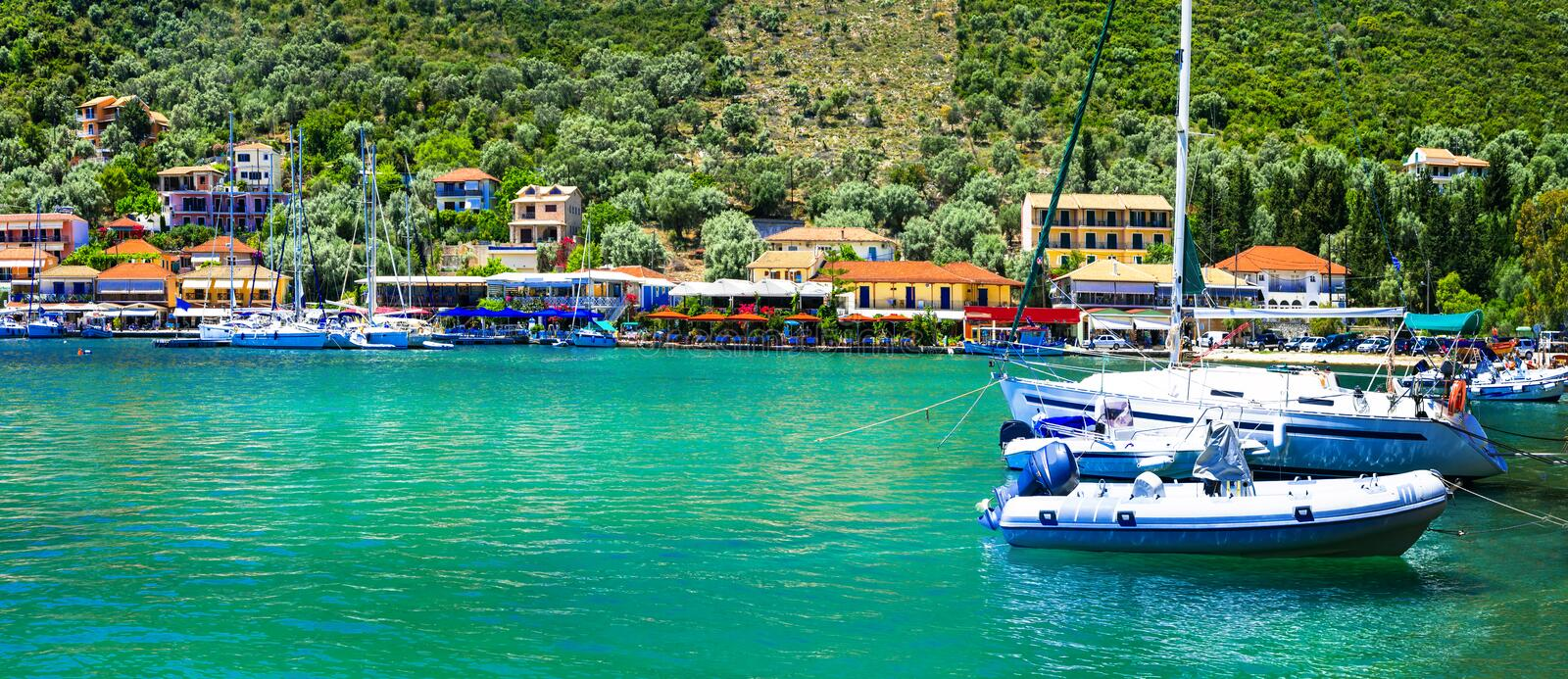 Pictorial fishing village Sivota in Lefkada, Ionian island stock image