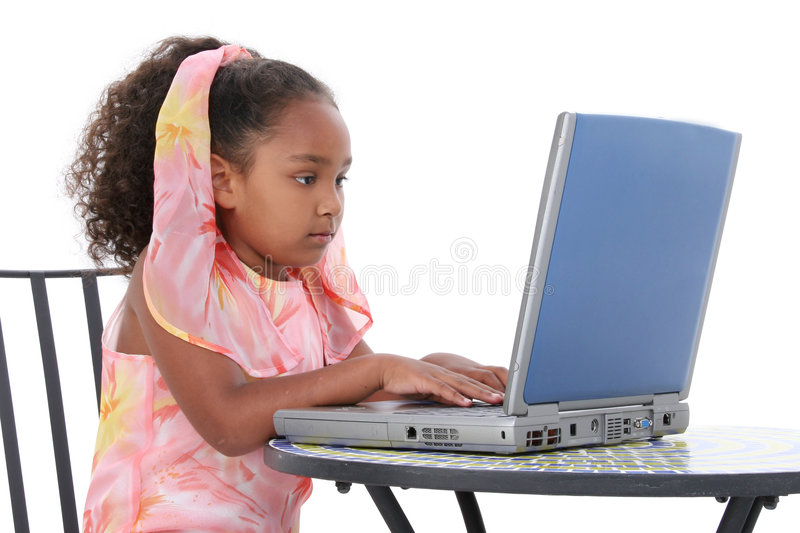 Download Beautiful Six Year Old Child Working On Laptop Stock Image - Image of table, connection: 151575