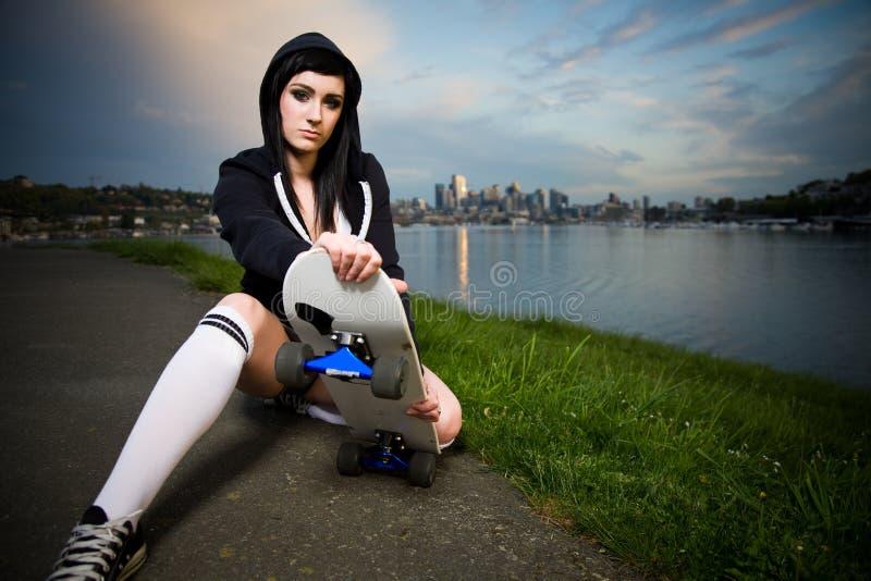Beautiful skater teen girl stock images