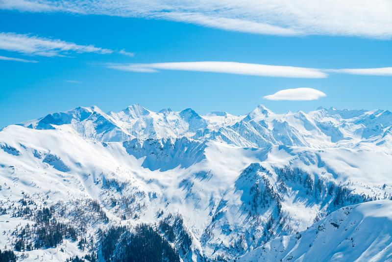 Beautiful ski resort in the middle of the Austrian Alps royalty free stock images