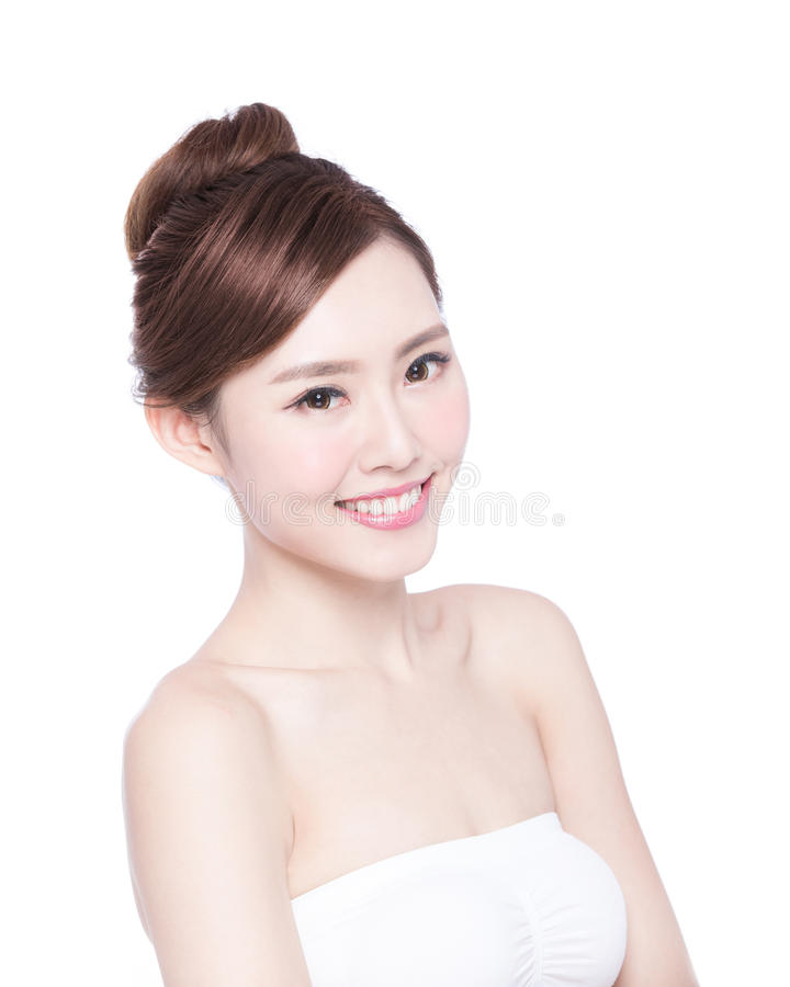 Beautiful Skin care woman Face. Smile to you isolated on white background. asian Beauty stock images