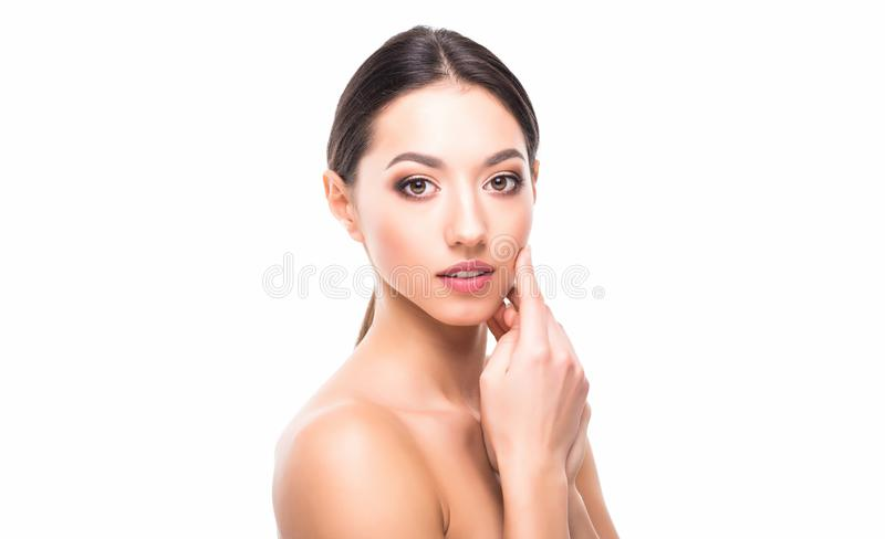 Beautiful skin Woman Beauty Skincare Portrait. Spa Salon Girl Woman Perfect Model isolated on a white background. Studio Closeup F royalty free stock photos