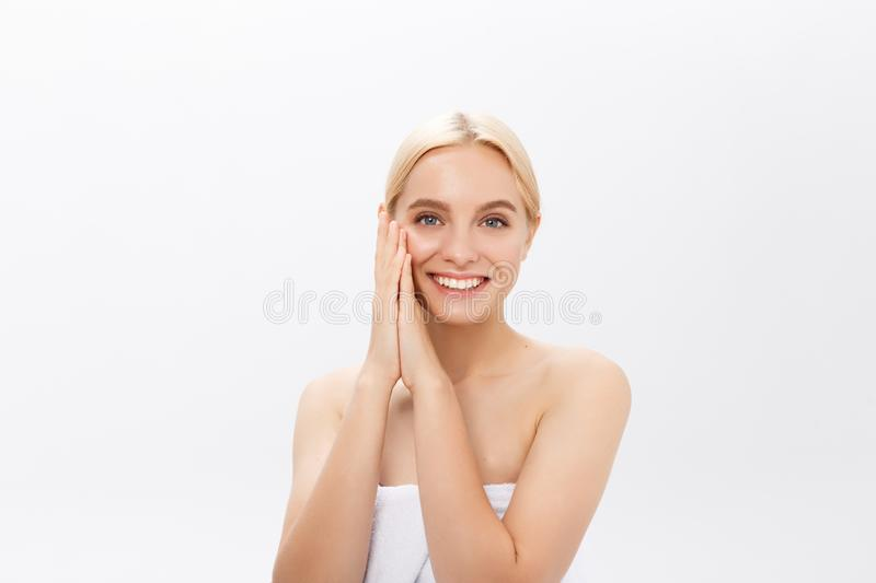 Beautiful skin woman face closeup healthy and beautiful female spa and cosmetic concept royalty free stock photos