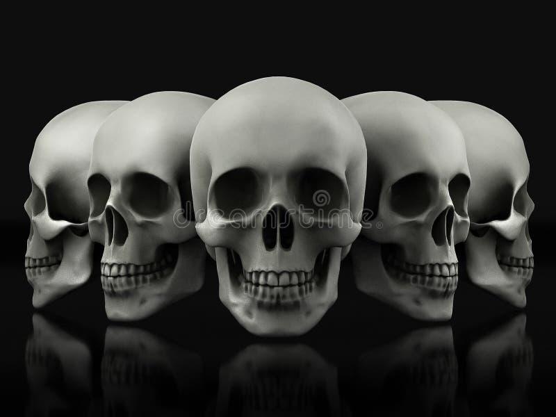Beautiful skull made of textured metal vector illustration