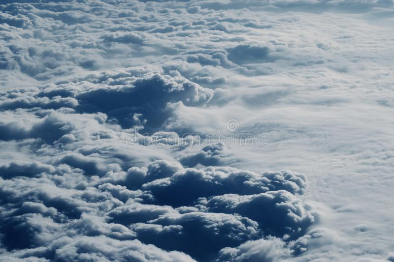 Beautiful sky with clouds. In aerial view royalty free stock photography