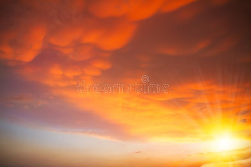 Beautiful sky with clouds before sunset, sun with sunshine. Beautiful sky with clouds before sunset, sun with sunshine stock photo