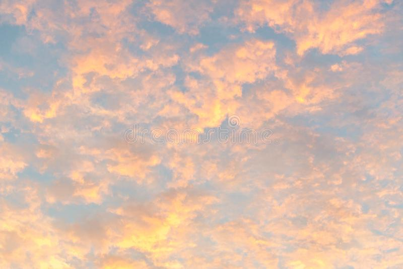 Beautiful sky at dawn. Beautiful color of sky at dawn. cloud formation. natural abstract color texture background stock photos