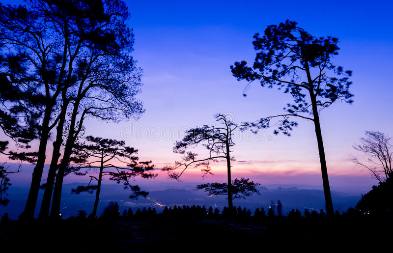 Beautiful sky and first light from sunrise with star on morning royalty free stock image
