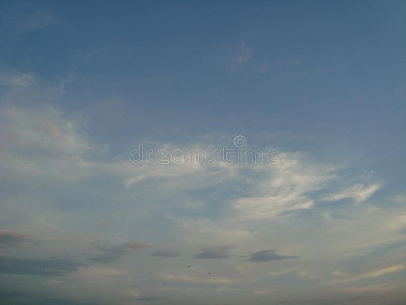 Beautiful sky, fluffy clouds, bright royalty free stock image