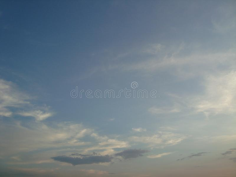 Beautiful sky, fluffy white clouds Bright sky royalty free stock images