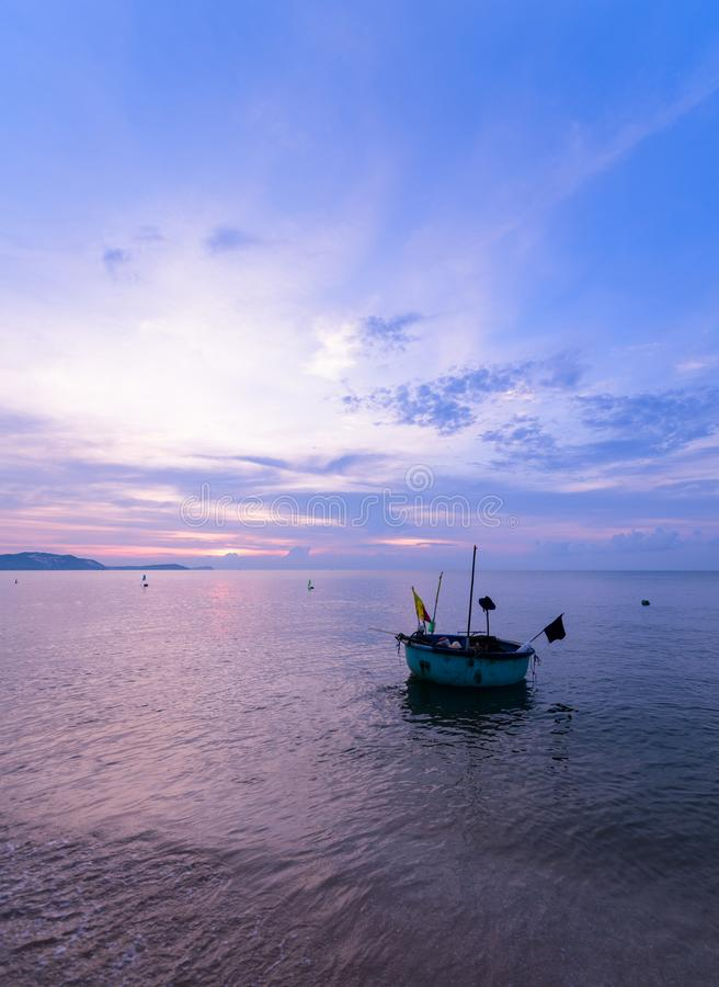 beautiful sky and local boats stock images