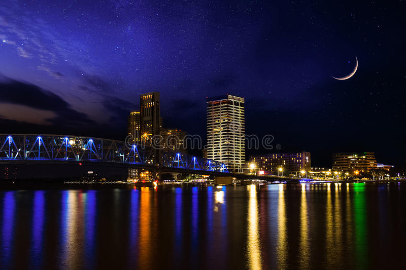 Beautiful sky night over downtown Jacksonville Florida stock photography