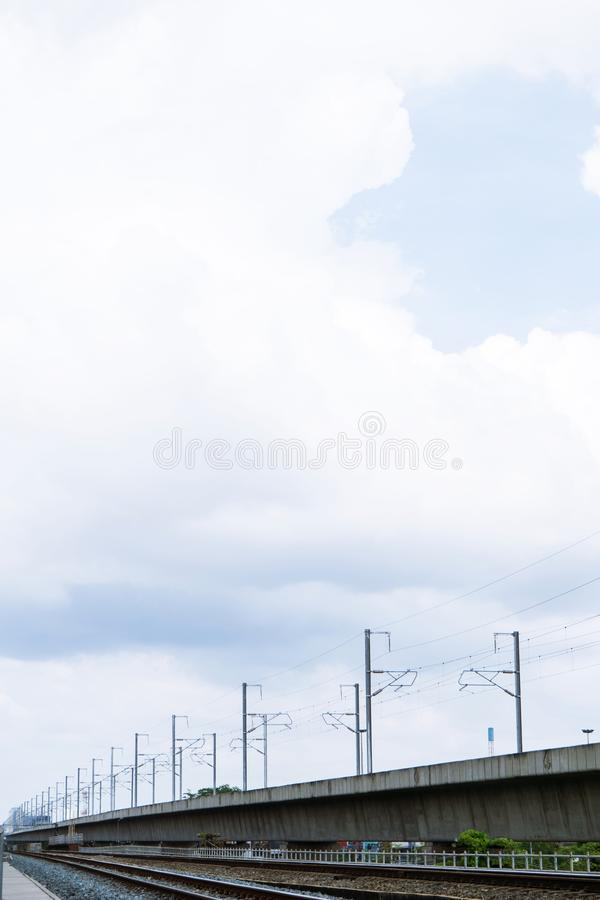 Beautiful sky and The old railway tracks at thailand. Beautiful sky and The old railway tracks at royalty free stock photography