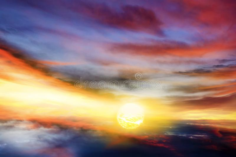 Beautiful sky . Rays of light th rough clouds stock images