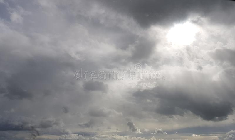 Beautiful sky sunrays and clouds, picturesque view with balloon. Beautiful sky sunrays and clouds, picturesque view with royalty free stock images
