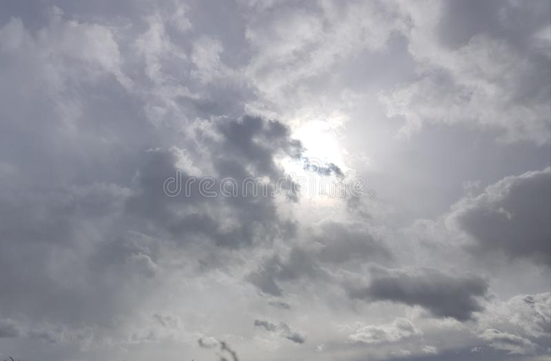 Beautiful sky sunrays and clouds, picturesque view with balloon. Beautiful sky sunrays and clouds, picturesque view with royalty free stock photo
