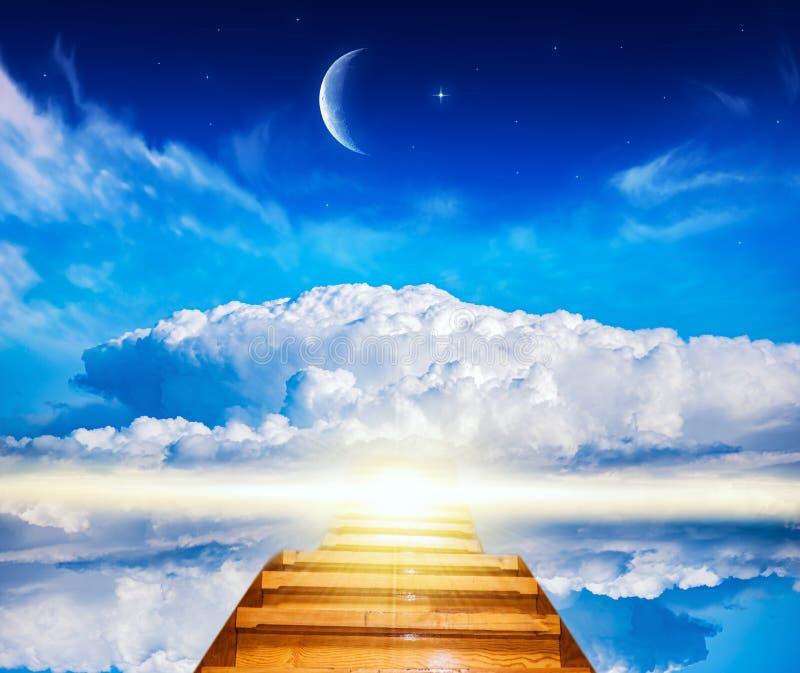 Beautiful sky . Sunrise . Light from sky .   New moon stock photography